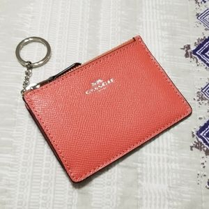 Coach F12186 Leather Mini Skinny ID Case Coral